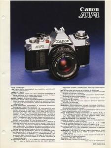 Documentation commerciale Canon AV-1