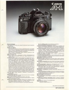 Documentation commerciale du Canon A1