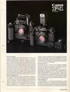Documentation commerciale accessoires Canon F-1 old